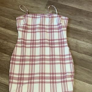 White and pink Plaid Dress